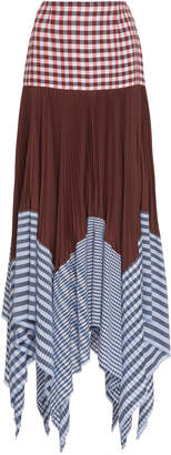 Loewe Pleated Gingham Cotton And Voile Maxi Skirt
