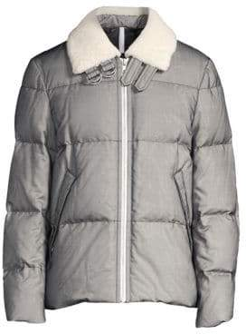 Helmut Lang Shearling Trim Down& Feather Fill Puffer Jacket