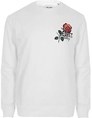 River Island Only and Sons white rose print sweatshirt