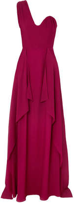 Roland Mouret Kimberworth One-shoulder Silk-crepe Gown - Red