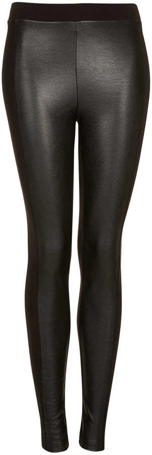 Topshop Leather look front leggings