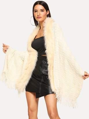 Shein Faux Fur Trim Poncho