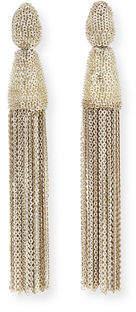 Oscar de la Renta Metal Chain Tassel Clip Earrings