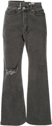 Ground Zero asymmetric printed flared jeans