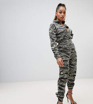Missguided Petite utility jumpsuit with zip front in green camo