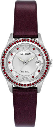 Citizen Eco-Drive Women's Silhouette Crystal Jewelry Red Leather Strap Watch 29mm FE1121-05A, A Macy's Exclusive