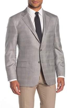 Hickey Freeman Milburn II Gray Glen Plaid Two Button Notch Lapel Classic Fit Blazer