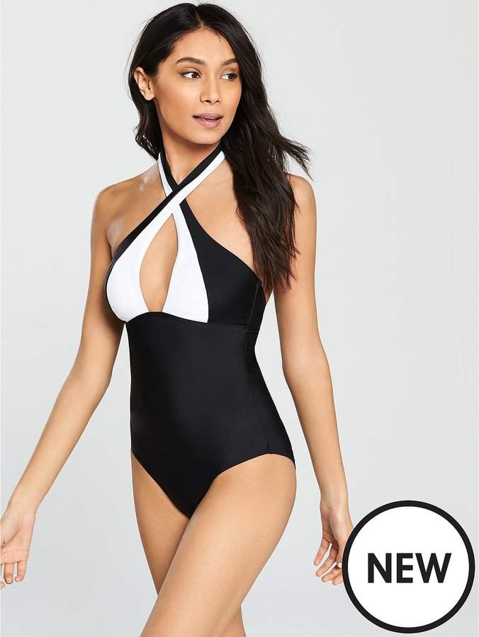 Halter-Neck Swimsuit – Monochrome