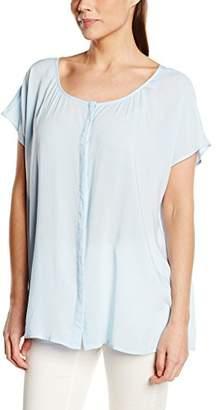 Via Appia Women's Rundhalsbluse mit Überschnittene Schulter Loose Fit Blouse - Blue