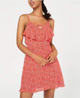 Trixxi Juniors' Printed Popover Ruffle Dress