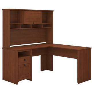 Corner Office Serene Cherry George L-Shaped Desk & Hutch