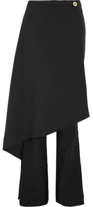 Sydney Layered Crepe Flared Pants - Black