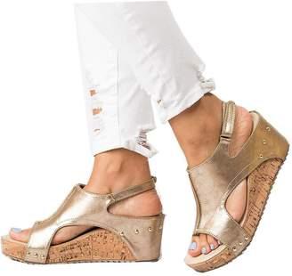 Kaloosh Women's Fashion Leisure Concise Strap Buckle Peep Toe Wedges Sandals Summmer Sandals