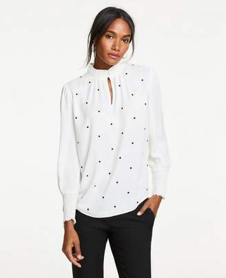 Ann Taylor Petite Dot Embroidered Smocked Top