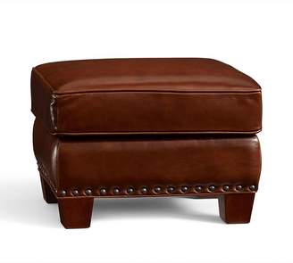 Pottery Barn Irving Leather Storage Ottoman with Nailheads