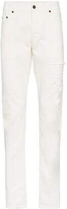 Saint Laurent Straight cut distressed jeans