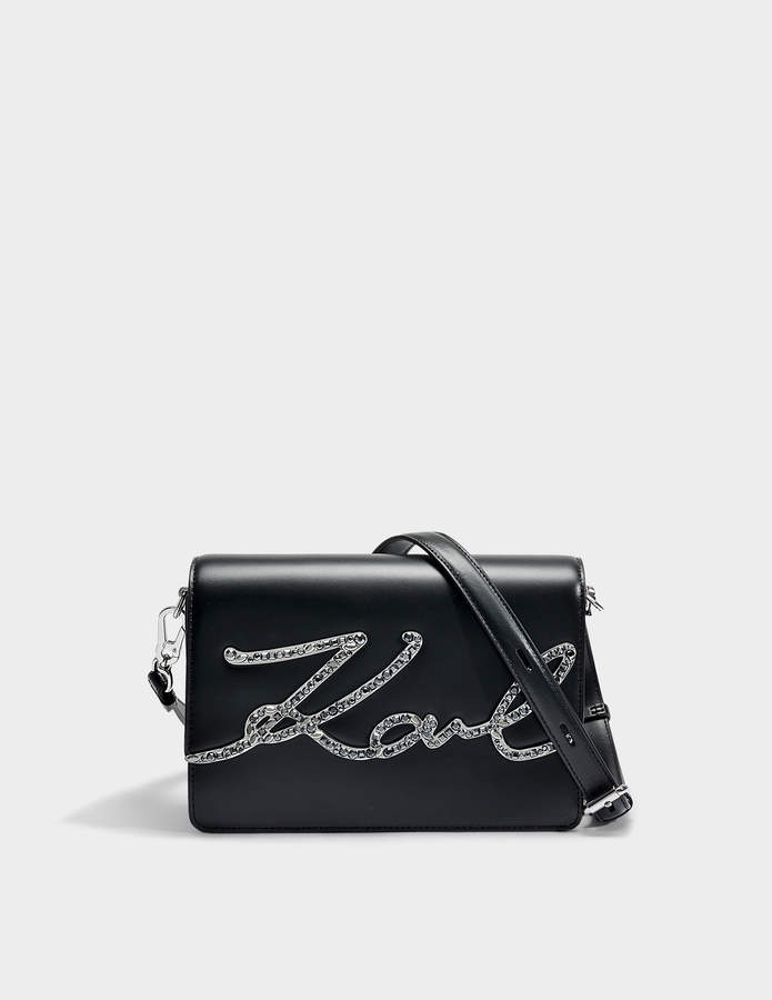 Karl Lagerfeld K / Signature Sac À Bandoulière Krystal En Cuir De Veau Lisse Noir Recommande La Sortie Grande Vente Manchester Classique À Vendre UT5p6T