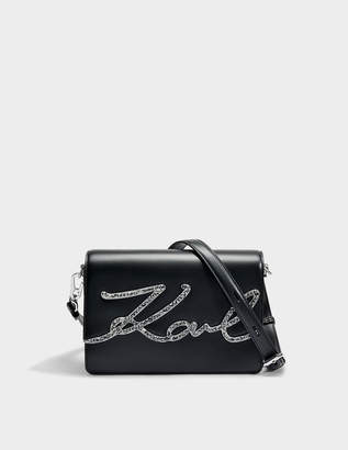 Karl Lagerfeld K/Signature Krystal Shoulder Bag in Black Smooth Calf Leather
