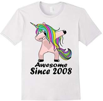 Kid 10 Yrs Old 10th Birthday Unicorn Dabbing Shirt 2008 Cute