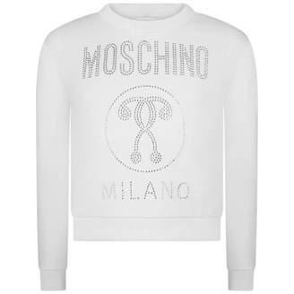 Moschino MoschinoGirls Ivory Diamante Milano Sweater