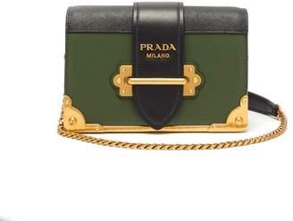 Prada Cahier Leather Cross Body Bag - Womens - Green Multi
