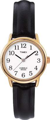 Timex Women's T20433PF Quartz Gold Watch with White Dial Analogue Display and Black Leather Strap