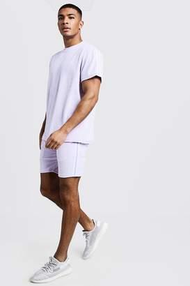 boohoo Velour MAN T-Shirt & Short Set With Tape