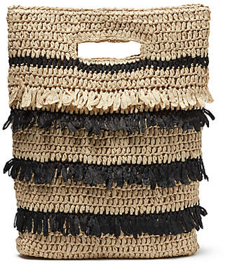John Lewis Stripe Straw Tassel Grab Bag, Mono