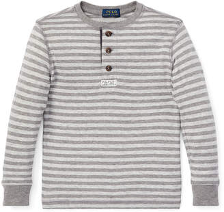 Ralph Lauren Childrenswear Long-Sleeve Striped Henley Top, Size 5-7