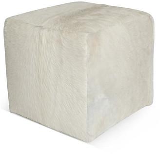 """Le-Coterie Cube 18"""" Pouf - White Hide"""