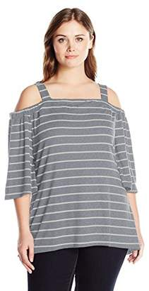 Notations Women's Plus Size Stripe 3/4 Sleeve Off The Shoulder Top with Straps High Low Hem