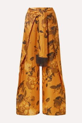 Mother of Pearl Georgina Tie-front Floral-print Satin Wide-leg Pants - Saffron