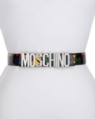 Moschino Floral Patent Leather Belt, Black $295 thestylecure.com
