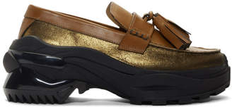 Maison Margiela Tan and Gold Moccasin Loafers