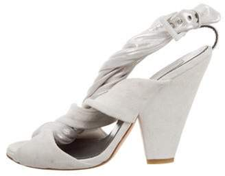 Preen by Thornton Bregazzi Crossover Suede Sandals Grey Crossover Suede Sandals