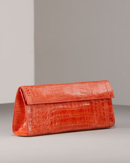 Nancy Gonzalez Croc Flap Clutch, Salmon