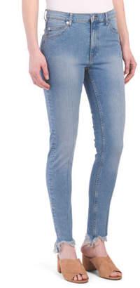 Juniors High Waist Cut Off Skinny Jeans