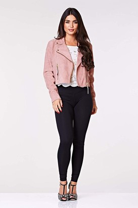 Gatsbylady London Madison Handcrafted Genuine Suede Leather Biker Jacket in Rose