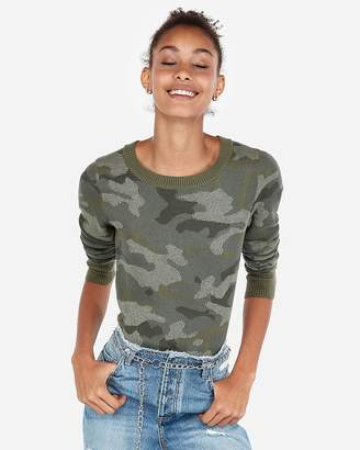 Express Fitted Camo Crew Neck Sweater