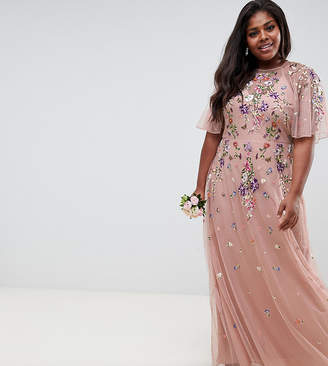 Asos DESIGN Curve floral embroidered dobby mesh flutter sleeve maxi dress