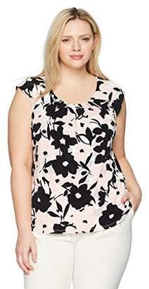 Kasper Women's Size Plus Floral Extend Cap Sleeve Pleat Neck ITY TOP