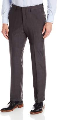 Haggar Men's Textured Windowpane Straight Fit Plain Front Pant