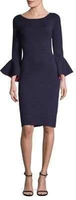 Eliza J Bell-Sleeve Sheath Midi Dress