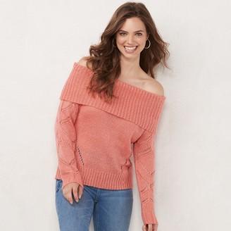 Lauren Conrad Women's Pointelle Off-Shoulder Sweater