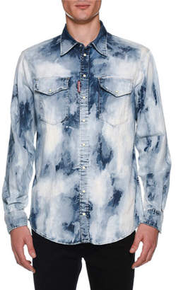 DSQUARED2 Men's Bleached Denim Military Shirt
