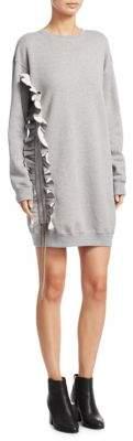 MSGM Ruffle Trimmed Tunic Shift Sweater Dress