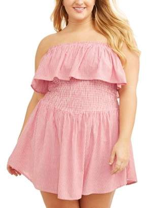 POOF Junior's Plus Strapless Flounce Romper with Smocked Waist