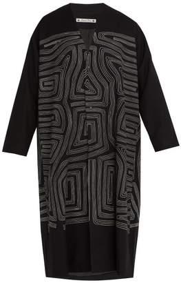 SASQUATCHfabrix. Embroidered Wool Blend Coat - Mens - Black