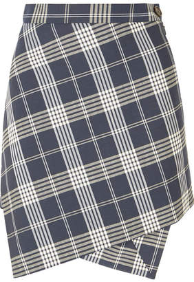 Vivienne Westwood Infinity Asymmetric Wrap-effect Tartan Wool Mini Skirt - Navy