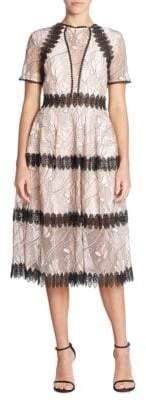 Nicholas Iris Paneled Lace Midi Dress